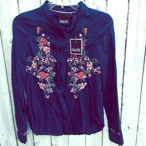 Nanette Lepore blue embroidered blouse NWT